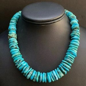 S.SilverGraduated Turquoise Bead Necklace. 16 inch